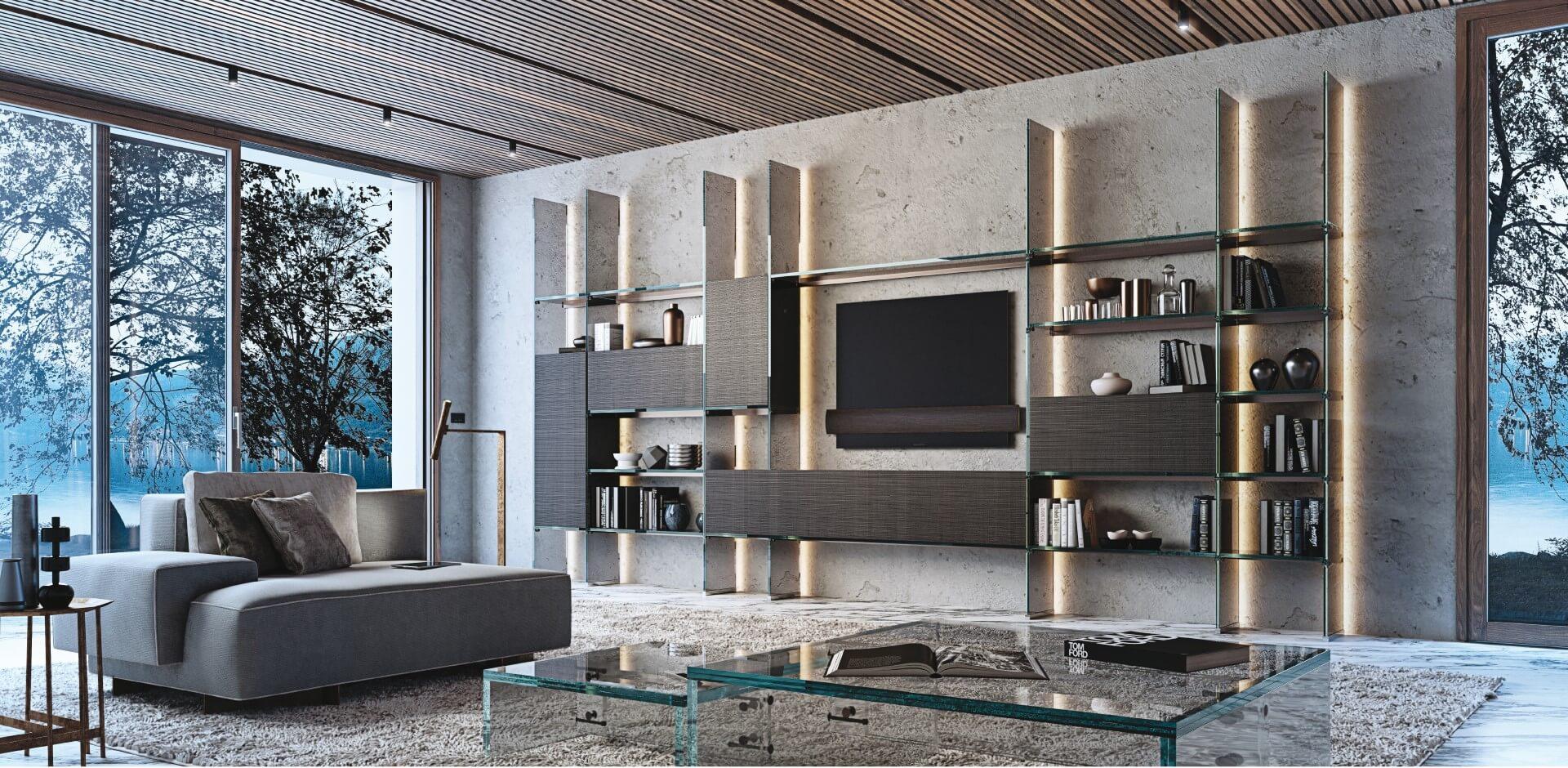 Simplicity Bookcase with wooden cabinet ( Design by Carlo Santambrogio & Ennio Arosio - 2019).